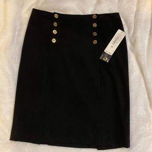 Lauren Ralph Lauren Black Gold Button Skirt Petite
